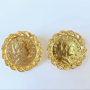 Gold Tone Coin Earrings